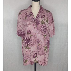 Alfred Dunner Button Down Blouse Size 18 Pink